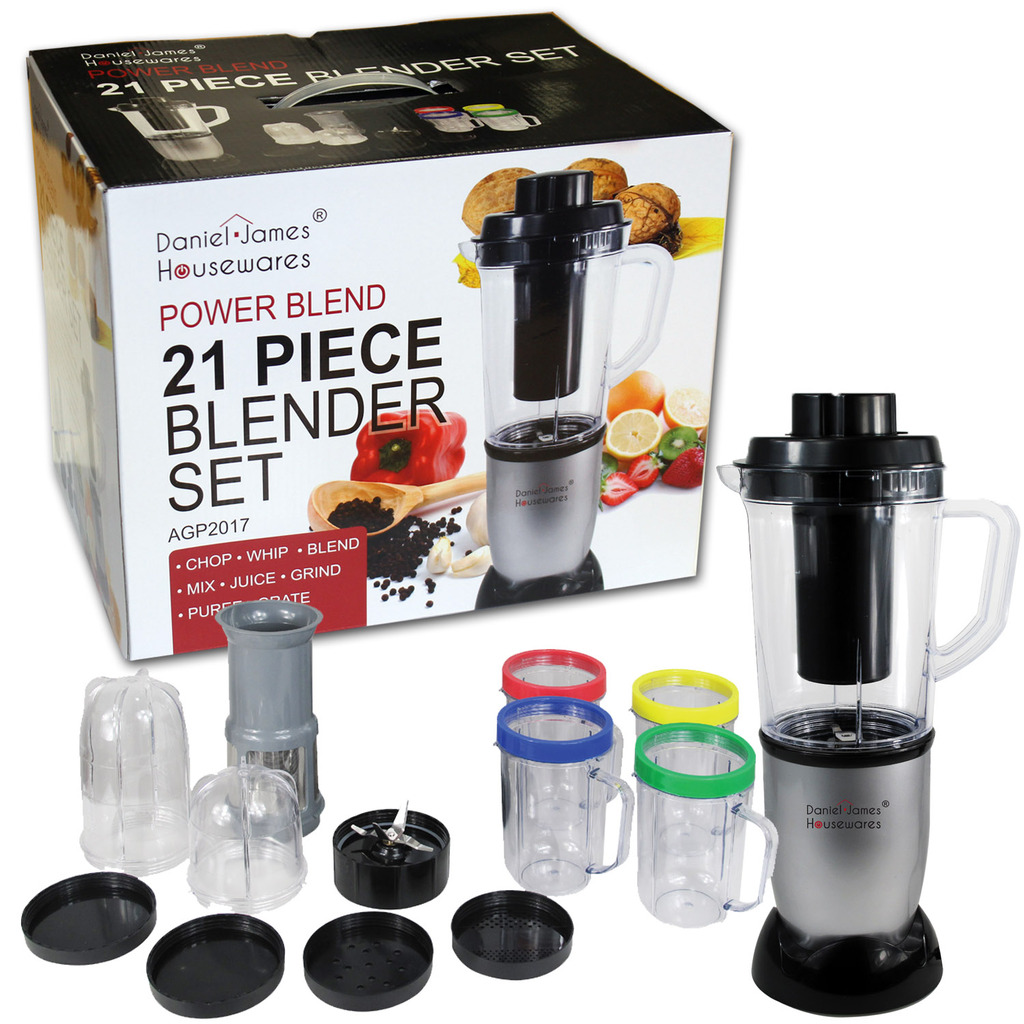 21 piece power smoothie blender set daniel james products. Black Bedroom Furniture Sets. Home Design Ideas