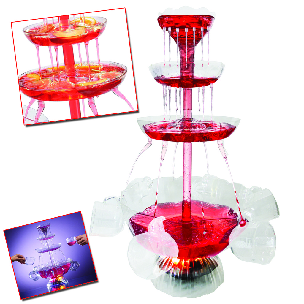 COCKTAIL FOUNTAIN ILLUMINATED ELECTRIC PUNCH BOWL WATERFALL WINE DRINKS PARTY