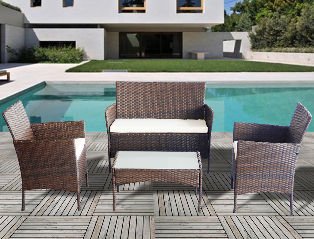 Home ... & 4 piece all weather Rattan garden furniture set for indoor or ...