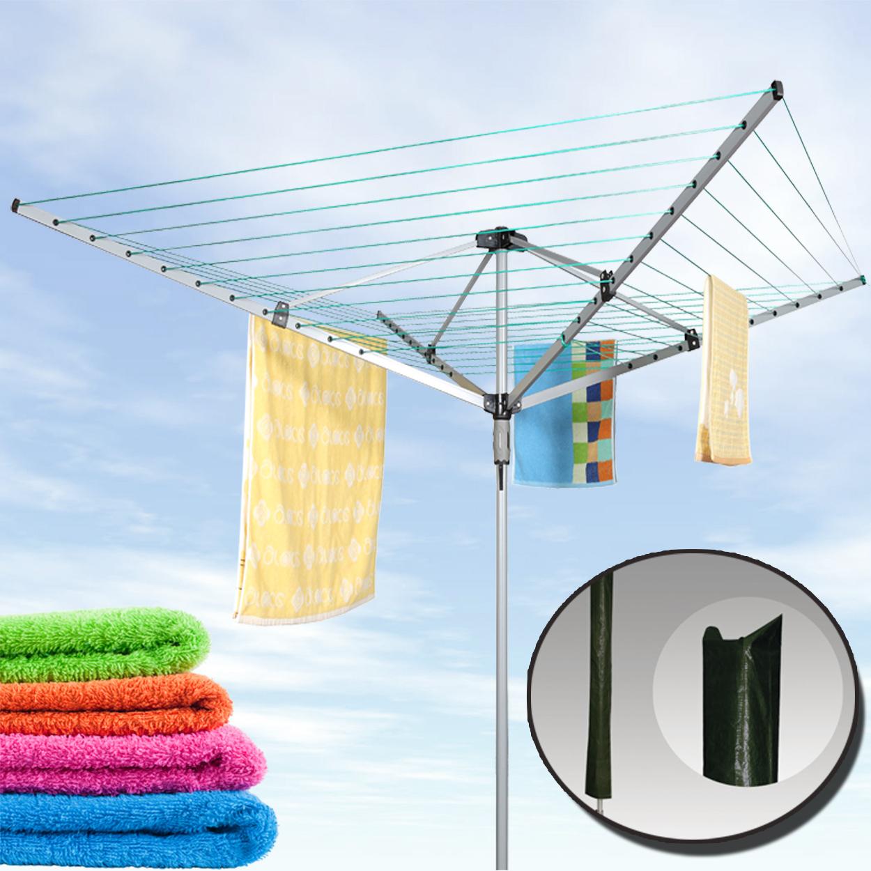 NEW 4 ARM ROTARY GARDEN WASHING LINE CLOTHES AIRER DRYER 50M FREE COVER
