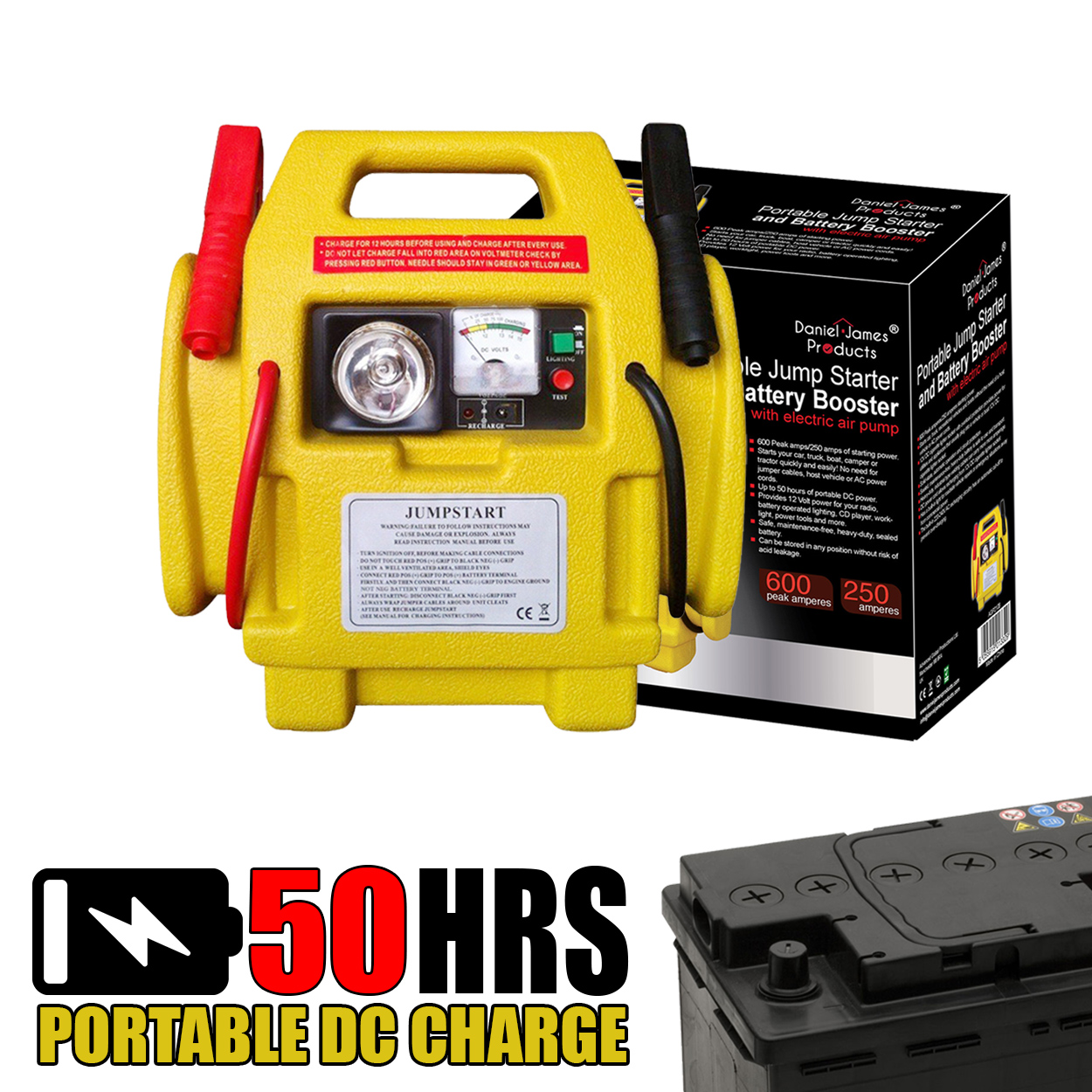 12V CAR BATTERY JUMP STARTER WITH POWER BOOSTER LEAD CABLES & TYRE AIR  COMPRESSOR