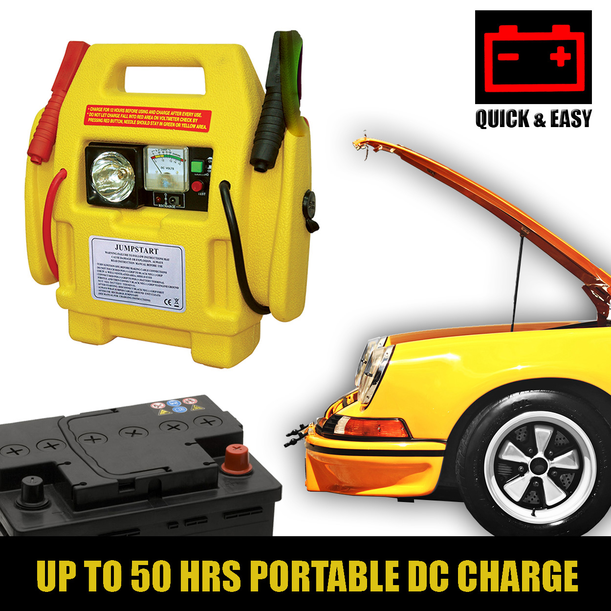 Built In Vehicle Jumper Cables : V car battery jump starter with power booster lead