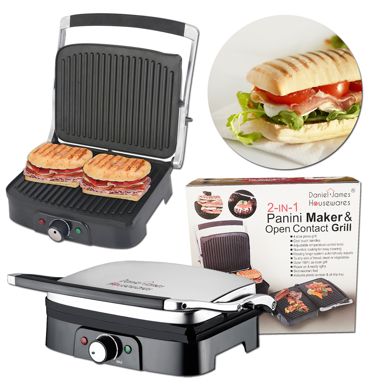 electric 2 in 1 panini press open health grill griddle and sandwich maker daniel james products. Black Bedroom Furniture Sets. Home Design Ideas
