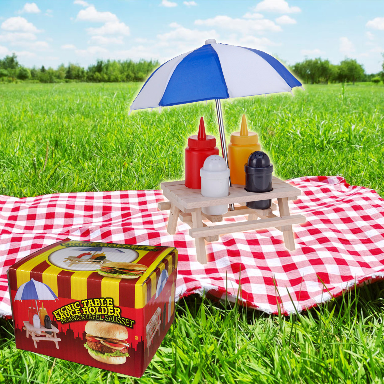 Home ...  sc 1 st  Daniel James Products & Novelty wooden picnic table with umbrella condiment set - Sauce ...