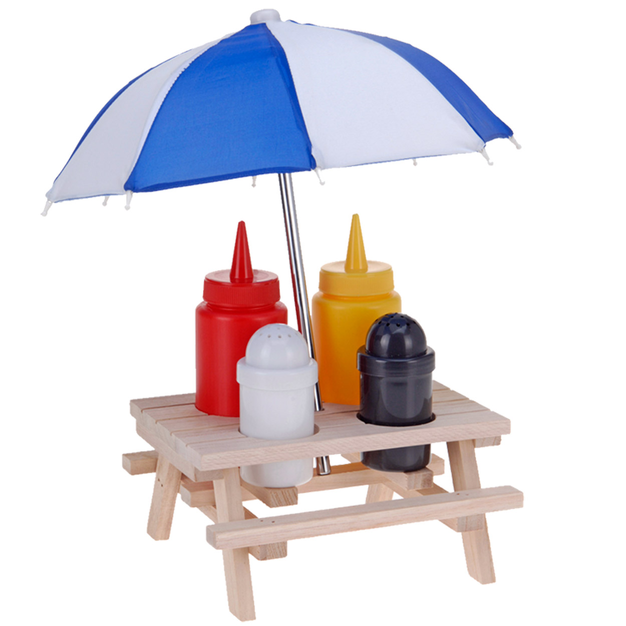 Novelty Wooden Picnic Table With Umbrella Condiment Set