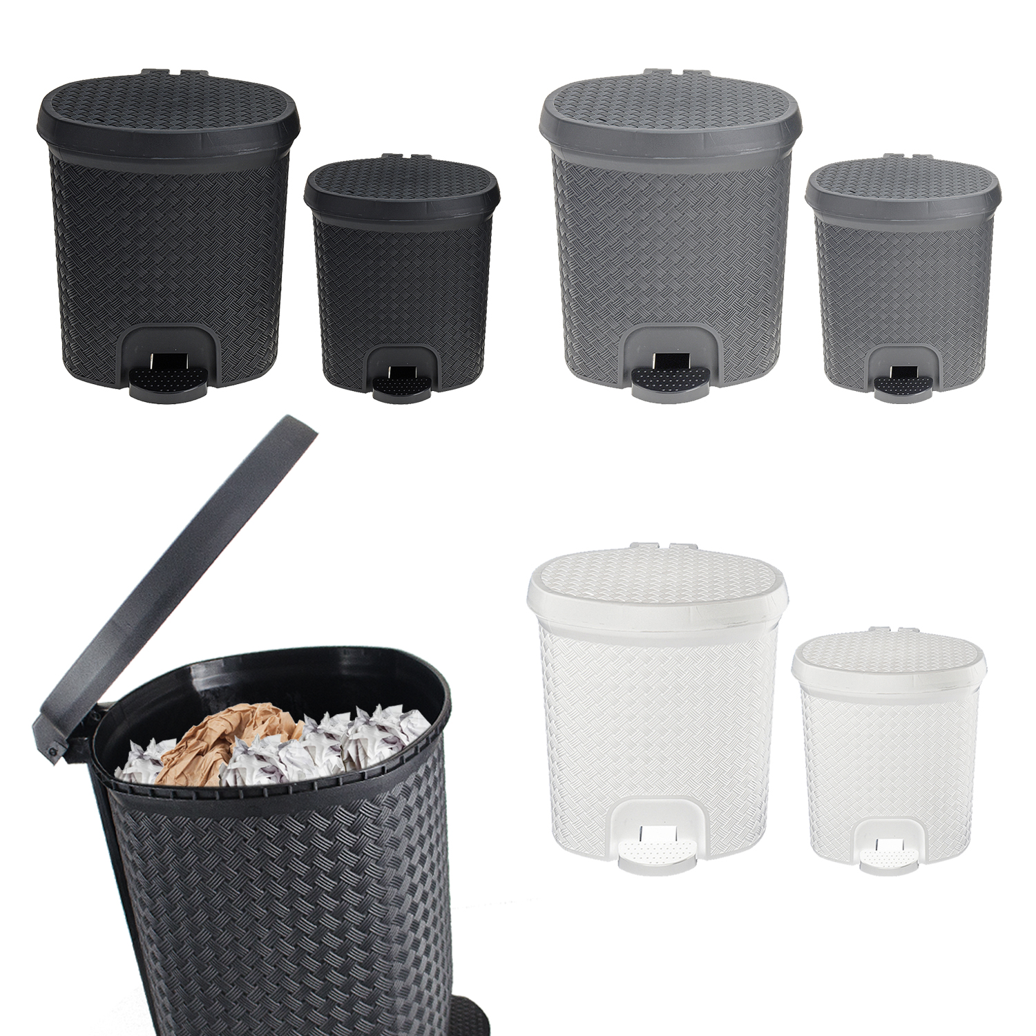 2 Piece Plastic Pedal Bin Waste FOR Bathroom OR Kitchen Rattan 3L ...