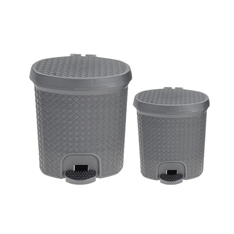 2 piece plastic pedal bin waste for bathroom or kitchen for Grey bathroom bin