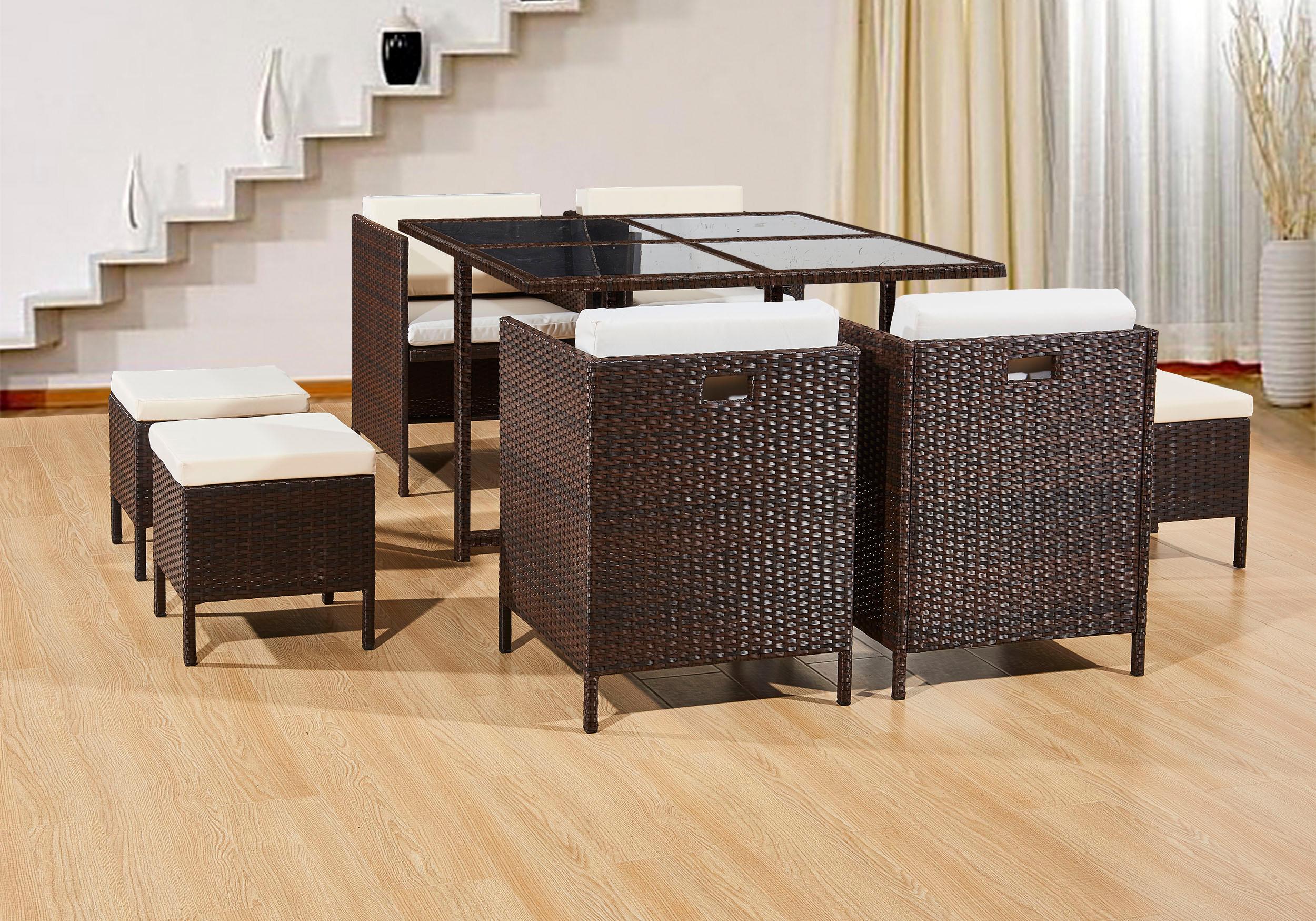 Rattan Garden Furniture Patio Dining Set 8 Seat Cube
